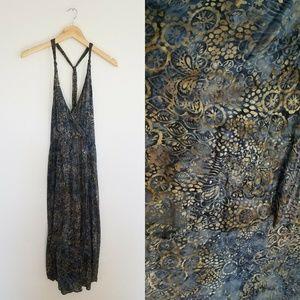 Zara Basic Strappy Dress Medium Blue Beige V Neck